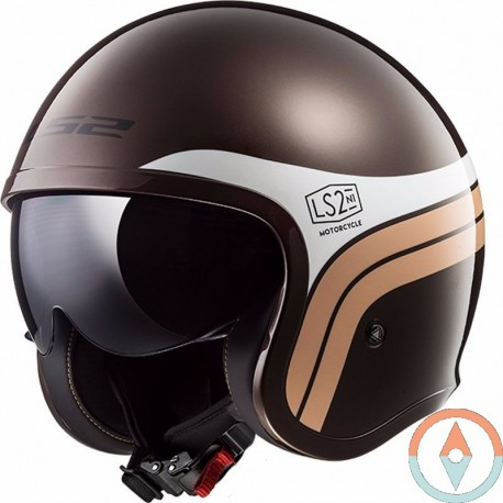 Casco LS2 SPITFIRE OF599 SUNRISE Marron Blanco